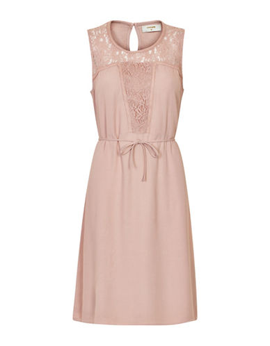 Cream Dona Sleeveless Lace Midi Dress-PINK-40