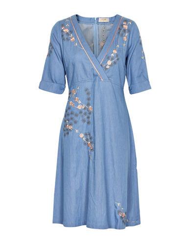 Cream Filippa Embroidered Dress-BLUE-36