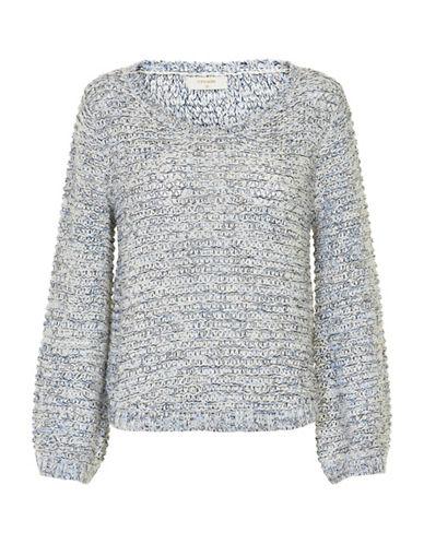 Cream Annie Mixed Yarn Sweater-GREY-Small