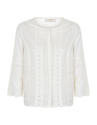 Cream Zina Eyelet Peasant Blouse-WHITE-40