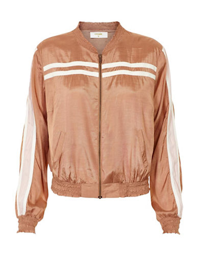 Cream Embroidered Bomber Jacket-BROWN-40