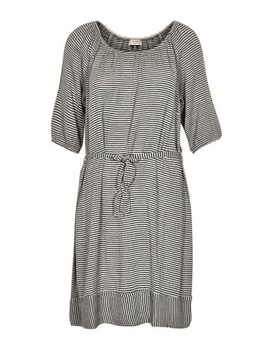 Cream Fiorella Striped Dress-BLACK-44