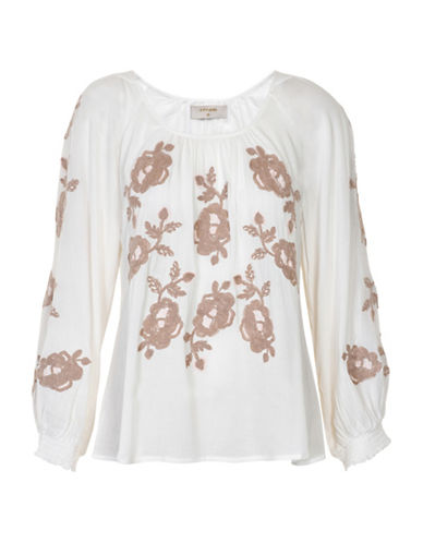 Cream Carla Embroidered Blouse-WHITE-42
