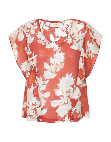Cream Giola Floral-Printed Blouse-RED-40