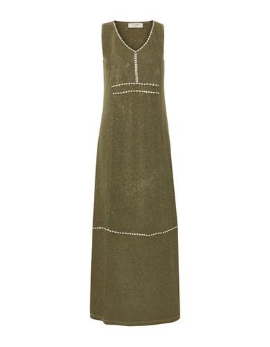 Cream Damali Sleeveless Dress-GREEN-X-Large