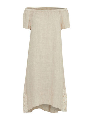 Cream Addy Off-The-Shoulder Dress-BEIGE-34