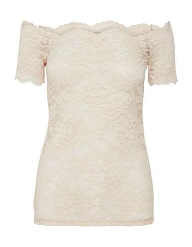 Cream Lilliana Off-the-Shoulder Blouse-BEIGE-X-Small