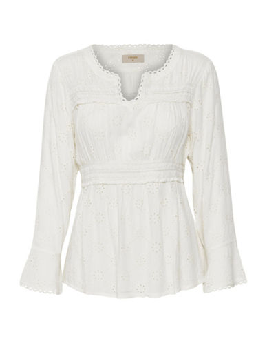 Cream Alice Split Neck Blouse-NATURAL-36