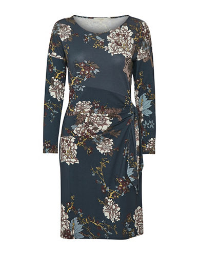 Cream Mattie Floral Dress-BLUE-Large