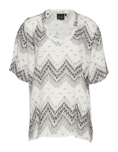 B. Young Ivetta Tribal Print Blouse-GREY-36