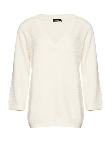 B. Young Obules V-Neck Sweater-OFF WHITE-Medium