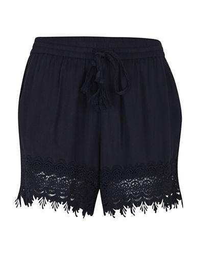 B. Young Ioana Embellished Trim Shorts-BLACK-36