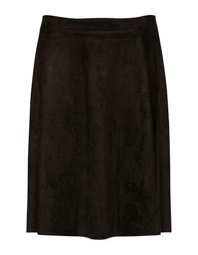 B. Young Javannah Faux Suede Flared Midi Skirt-DARK GREY-Large