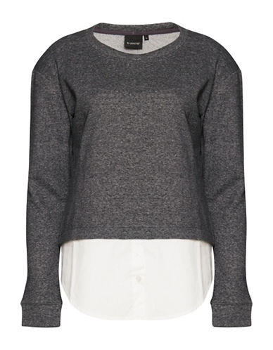 B. Young Round Neck Mixed Media Sweater-GREY-X-Small 88681824_GREY_X-Small