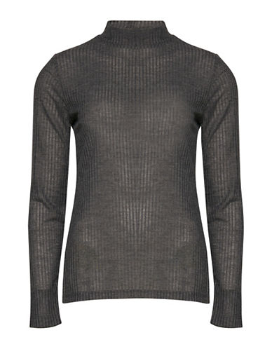 B. Young Sachi Long Sleeve Shadow Rib-Knit Top-GREY-X-Small