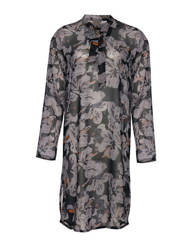 Ichi Atari Floral-Printed Shirtdress-BLACK-X-Small
