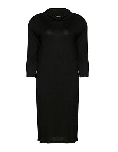 Ichi Mary Cowl Neck Dress-BLACK-Medium