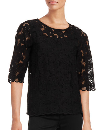Ichi Dawn Open Lace Top-BLACK-36