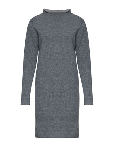 Ichi Merci Mock Neck Wool-Blend Sweater Dress-GREY-Medium