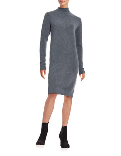 Ichi Merci Mock Neck Wool-Blend Sweater Dress-FLINT-Large