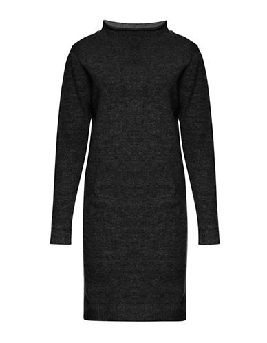 Ichi Merci Mock Neck Wool-Blend Sweater Dress-BLACK-X-Small
