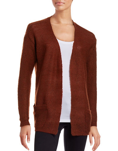 B. Young Manus Open Front Cardigan-BURNT ORANGE-X-Small