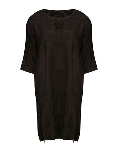 B. Young Faux-Suede Shift Dress-GREY-34