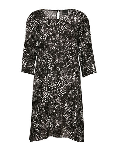 B. Young Hioli Splatter Print Shift Dress-BLACK-36