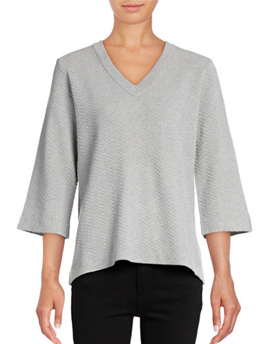 B. Young Obules V-Neck Sweater-GREY-Large