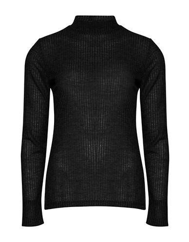 B. Young Sachi Long Sleeve Shadow Rib-Knit Top-BLACK-X-Small
