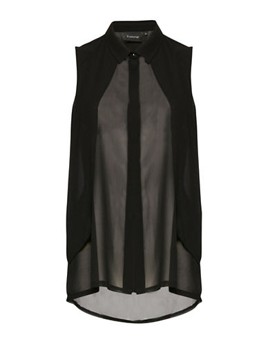 B. Young Gawn Sleeveless Collar Layer Blouse-BLACK-38