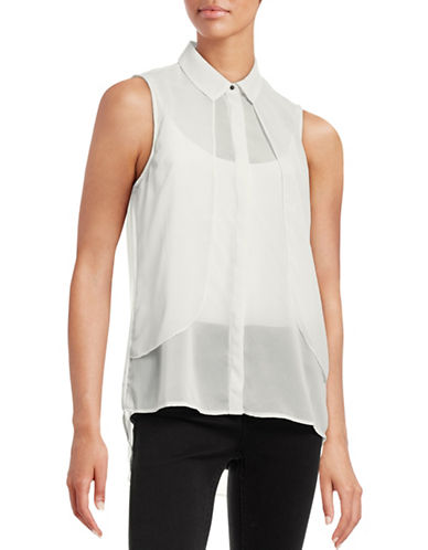 B. Young Gawn Sleeveless Collar Layer Blouse-NATURAL-36