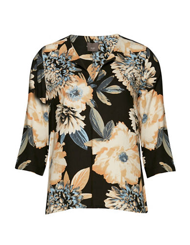 Ichi Floral Print Short Sleeve Blouse-BLUE-X-Small