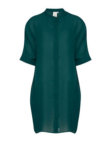 Ichi Anna Hi-Lo Blouse-GREEN-X-Small