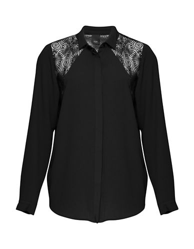 Ichi Blake Lace Detail Blouse-BLACK-Small
