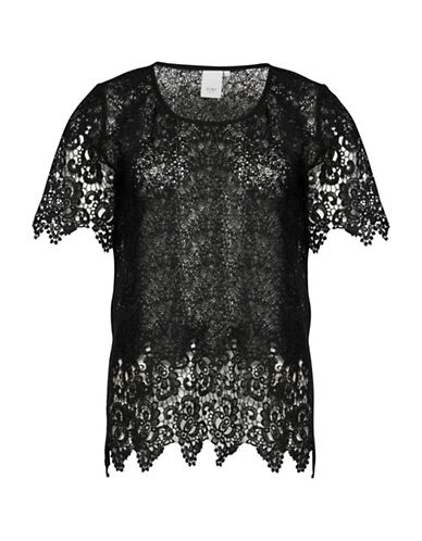Ichi Carrie Lace Short Sleeve Top-BLACK-34
