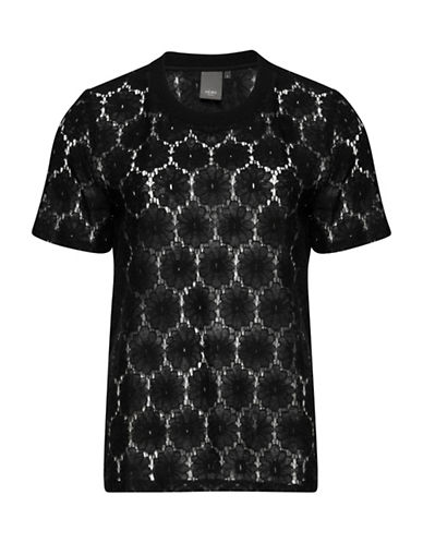 Ichi Bloom Lace Short Sleeve Tee-BLACK-X-Small 88714483_BLACK_X-Small