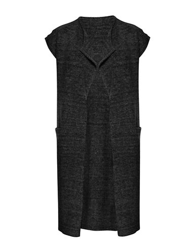 Ichi Merci Short Sleeve Open Long Cardigan-BLACK-X-Small/Small