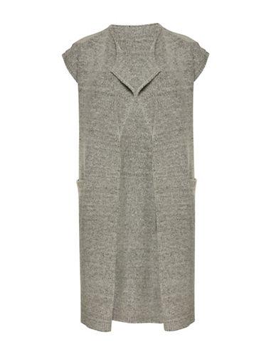 Ichi Merci Short Sleeve Open Long Cardigan-GREY-X-Small/Small