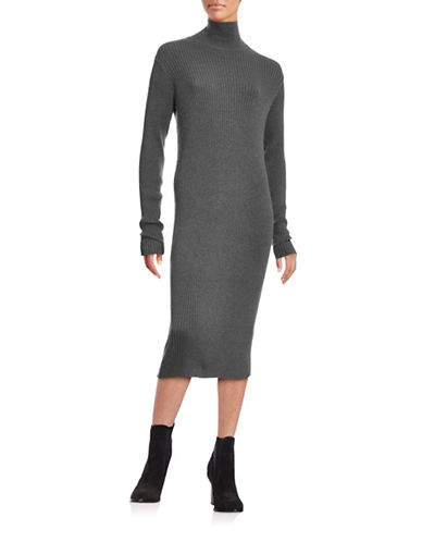 Ichi Malie Long Sleeve Rib Maxi Sweater Dress-GREY-Medium