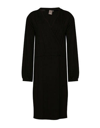 Ichi Dafne Long Sleeve Crossover Dress-BLACK-Large