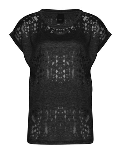 Ichi Leni Short Sleeve Geo Burnout Tee-BLACK-Large 88601977_BLACK_Large