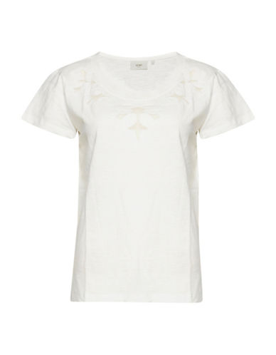 Ichi Embroidered Mesh Cutout Tee-NATURAL-Small