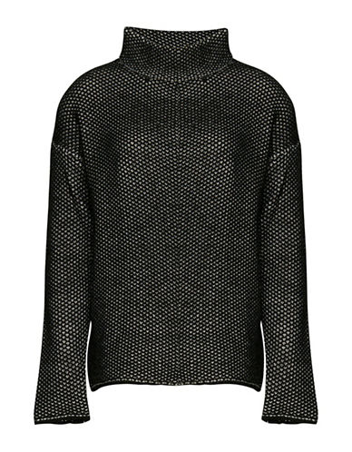Ichi Cross-Knit Long Sleeve Weave Pullover-BLACK-Large 88761682_BLACK_Large