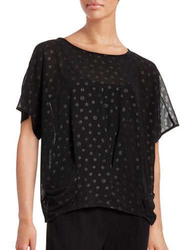 Ichi Avuna Short Sleeve Polka Dot Blouse-BLACK-X-Small