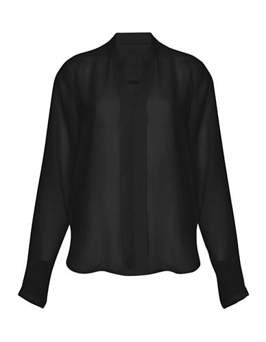 Ichi Anna Hi-Lo Blouse-BLACK-Small