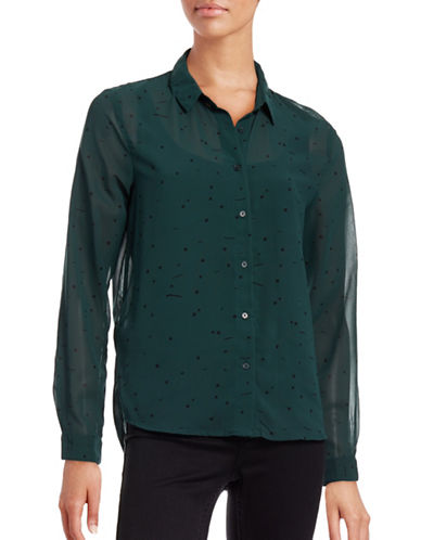 Ichi Another Ditsy Square Blouse-GREEN-36