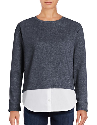 B. Young Round Neck Mixed Media Sweater-BLUE-Medium