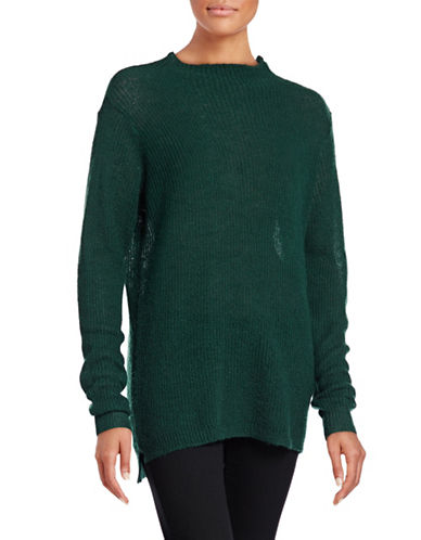 Ichi Orion Long Sleeve Mock Mohair-Blend Knit Sweater-GREEN-Medium