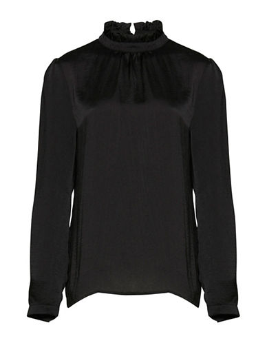 Ichi Collir Mock Neck Blouse-BLACK-36